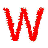 Mettez le feu à la lettre W d'isolement sur le fond blanc avec le chemin de coupure Images libres de droits