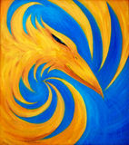 Mettez le feu à Phoenix sur le fond bleu, peinture à l'huile originale, Phoenix Photo libre de droits