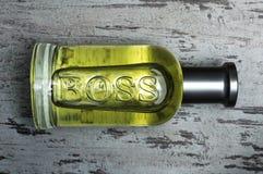 Mettez le paquet en bouteille du parfum gris de Bottled de PATRON pour les hommes par Hugo Boss images stock