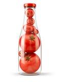 mettez les tomates en bouteille Image libre de droits