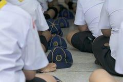 Mettez un chapeau dans une rangée avec un symbole de visage de tigre photographie stock libre de droits