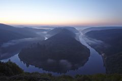 Mettlach - Saar Loop at sunrise Royalty Free Stock Images