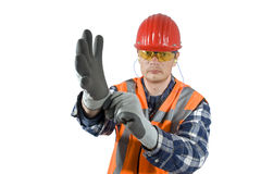 Mettre des gants Photo libre de droits