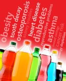 Mettre en garde contre les effets dangereux des boissons non alcoolisées sur la santé Photos libres de droits