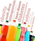 Mettre en garde contre les effets dangereux des boissons non alcoolisées sur la santé Photo stock