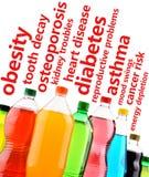 Mettre en garde contre les effets dangereux des boissons non alcoolisées sur la santé Photographie stock libre de droits