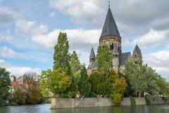 METZ FRANCE/EUROPA, WRZESIEŃ 24, -: Widok Świątynny Neuf w Metz zdjęcie royalty free