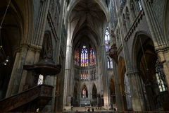 METZ, FRANCE/ EUROPE - SEPTEMBER 24: Interior view of Cathedral Royalty Free Stock Images