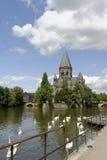 Metz la Moselle Riverscape Photographie stock libre de droits