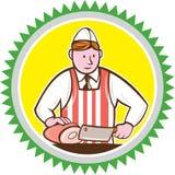 Metzger Chopping Ham Rosette Cartoon Stockbild