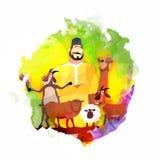 Metzger mit Tieren für Eid al-Adha Stockbilder