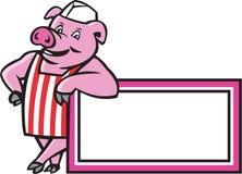 Metzger-Pig Leaning On-Zeichen-Karikatur Stockfotografie