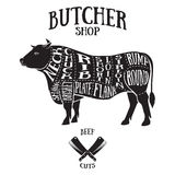Metzger schneidet Entwurf des Rindfleisches Stockfotos