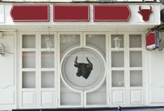 Metzgereien- oder -restaurant Leeres Schild stockfoto