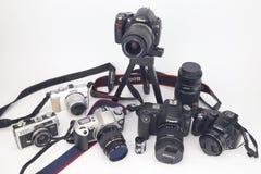 Meu branco do isolado da câmera e da lente Fotografia de Stock Royalty Free