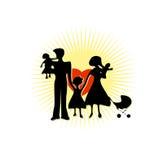Meu ícone da família, mãe do pai e três crianças Imagens de Stock Royalty Free