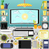 Meu desktop, negócio, escritório Fotografia de Stock Royalty Free