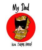 Meu paizinho é um super-herói! Tirando em um t-shirt, para produtos impressos ilustração stock