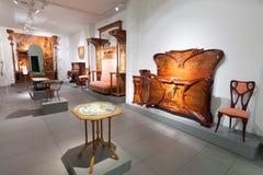 Meubilair in binnenland van Museum van Catalaanse Modernisme Stock Foto