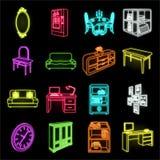 Meubilair en binnenlandse neonpictogrammen in vastgestelde inzameling voor ontwerp Web van de het symboolvoorraad van het huismeu royalty-vrije illustratie