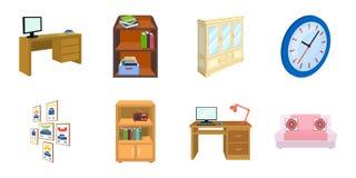 Meubilair en binnenlandse pictogrammen in vastgestelde inzameling vector illustratie