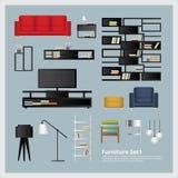 Meubilair en Huisdecoratie Vastgestelde Vectorillustratie Stock Afbeeldingen