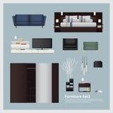 Meubilair en Huisdecoratie Vastgestelde Vectorillustratie Stock Foto