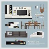 Meubilair en Huisdecoratie Vastgestelde Vectorillustratie Royalty-vrije Stock Afbeeldingen