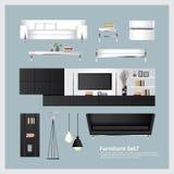 Meubilair en Huisdecoratie Vastgestelde Vectorillustratie Stock Foto's