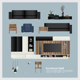 Meubilair en Huisdecoratie Vastgestelde Vectorillustratie Stock Fotografie