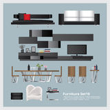 Meubilair en Huisdecoratie Vastgestelde Vectorillustratie Royalty-vrije Stock Afbeelding