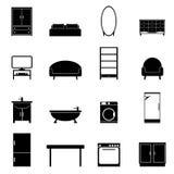 Meubilair geïsoleerde geplaatste pictogrammen Stock Foto