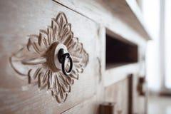 Meubilair in het klassieke Balinese lichte hout van stijldetails Royalty-vrije Stock Foto's