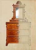 Meubilair het Maken - ontwerpconcept van tekeningsschets aan gebeëindigd meubilair Royalty-vrije Stock Foto's