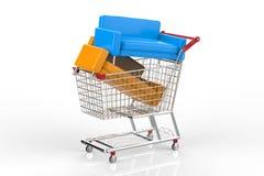 Meubilair het winkelen concept met bank in boodschappenwagentje Royalty-vrije Stock Foto