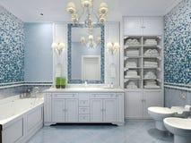 Meubilair in klassieke blauwe badkamers Stock Afbeelding