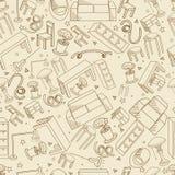 Meubilair naadloze retro vectorillustratie stock illustratie