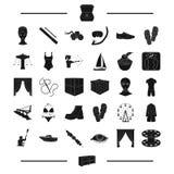 Meubilair, sport, materiaal en ander Webpictogram in zwarte stijl recreatie, landbouwpictogrammen in vastgestelde inzameling Stock Fotografie
