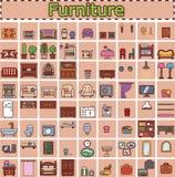 Meubilair voor ruimten van huis wordt geplaatst dat Spelvoorwerpen Royalty-vrije Stock Foto