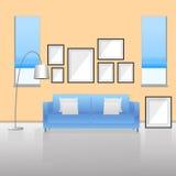 Meubilairbinnenland woonkamer met bank Vector illustratie Royalty-vrije Stock Afbeeldingen