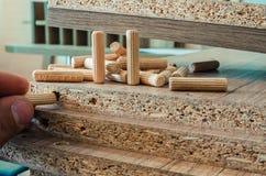 Meubilairmontage, houten pennen, bevestigingsmiddelverbinding op spaanplaatwerkstukken, close-up royalty-vrije stock foto's
