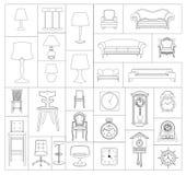 Meubilairpictogrammen, eenvoudige en dunne lijn Stock Foto