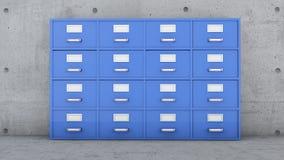 Meuble d'archivage, collecteurs de document, coffret en métal avec des tiroirs et labels Images stock