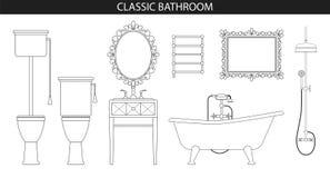 Meubles classiques de style ancien pour la salle de bains Photo libre de droits