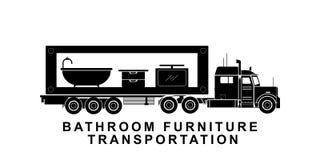 Meubles détaillés de salle de bains transportant l'illustration de camion illustration stock