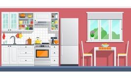 Meubles de cuisine avec des appareils sur un mur rouge illustration libre de droits