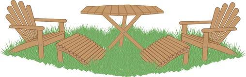 Meubles de jardin sur la pelouse illustration stock