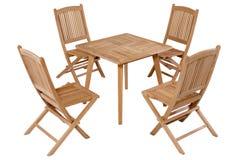 Meubles de jardin de table de pliage de teck, ensemble de meubles de jardin photos libres de droits