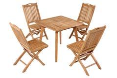 Meubles de jardin de table de pliage de teck, ensemble de meubles de jardin images libres de droits