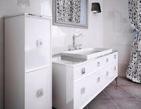 Meubles de luxe blancs dans la salle de bains Photo stock